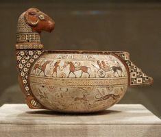 Terracotta cosmetic vase Period: Archaic Date: 4th quarter of the 6th century B.C. Culture: East Greek Medium: Terracotta