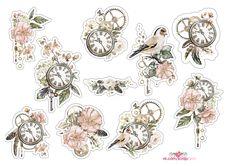 vintage birds / Винтажные иллюстрации с птицами и часами Printable Planner Stickers, Journal Stickers, Scrapbook Stickers, Scrapbook Paper, Tumblr Stickers, Cute Stickers, Etiquette Vintage, Homemade Stickers, Bullet Journal Art