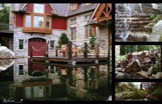 Cascades d'eau et environnement visuel aquatique réalisés par Maxhorti. #Landscaping #Waterfall Cascades, Lake Houses, Mansions, House Styles, Home Decor, Water Garden, Garden Projects, Landscape Fabric, Plunge Pool