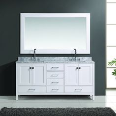 London 72-inch White Finish Double Sink Vanity Set with Mirror - 16686424 - Overstock.com Shopping - Great Deals on Design Element Bathroom Vanities