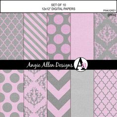Pink and Grey Textured, Patterned Digital Papers, Damask, Polka Dots, Cardstock, Set of 10, 12x12 inch, JPEG, Scrapbooking, Card Making on Etsy, $3.99