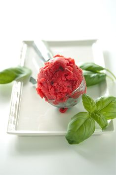 Strawberry Basil Sorbet Bellinis - www.countrycleaver.com
