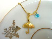 ☂ Regenschirm & Glastropfen an Kugelkette gold *