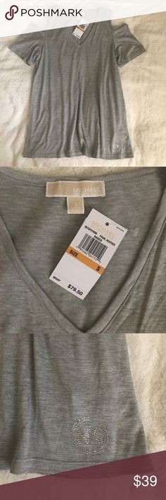 MK Cold Shoulder Top Small Micheal Kors  BRAND NEW with TAGS Size Small Super cute and flowy- could possibly fit a Medium as well Grey in color   Regular price $79.50 MY PRICE $39 Michael Kors Tops Blouses