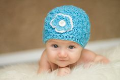 This is a cute blue baby hat on Etsy, $20.00