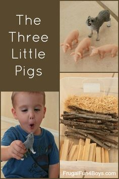 A fun afternoon activity, pretend play with the Three Little Pigs! Fairy Tale Theme, Fairy Tales, Preschool Activities, Activities For Kids, Traditional Tales, Small World Play, Three Little Pigs, Tot School, Early Literacy