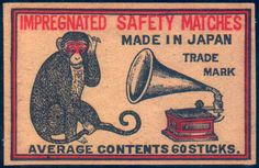 Vintage Comics, Vintage Posters, Vintage Labels, Graphics Vintage, Monkey Illustration, Chinese Posters, Matchbox Art, Retro Art, Cover Art