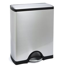 13 Gallon simplehuman Stainless Steel Rectangular Step Trash Can | The Container Store