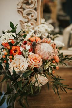 change orange tone to pink and this is good Orange And Pink Wedding, Coral Wedding Flowers, Burnt Orange Weddings, Floral Wedding, Protea Wedding, Boquette Wedding, Wedding Bouquets, Wedding Decor, Wedding Ideas