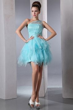 Zipper Shoulder Tulle Crystals/Ruffles Short/mini Blue Modern Natural One Sleeveless Ruched/Belt/Coloured Ball-Gown Cocktail Dress Graduation Dresses Long, Blue Homecoming Dresses, Junior Prom Dresses, Grad Dresses, Pageant Dresses, Summer Dresses, Long Dresses, Casual Dresses, Cheap Cocktail Dresses