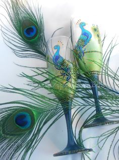 Peacock Henna Inspired Hand Painted Wine Glass by ElvenBells