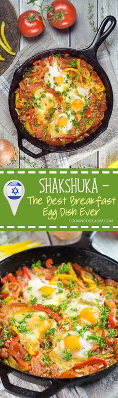 There are plenty of ways of cooking eggs, but nothing beats Shakshuka. This North African dish combines eggs with a fragrant tomato and bell pepper sauce! | http://cookingtheglobe.com