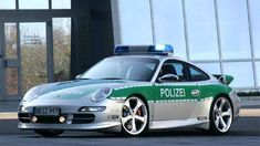 Germany:~ The Porsche 911 Carrera S has been extensively modified by TechArt for its role as a police car. With a 6 cylinder engine and it's capable of over 186 mph and sprinting to 60 mph in just seconds. Porsche Panamera, Carros Porsche, Porsche Autos, Porsche Cars, Porsche Carrera, Bugatti Veyron, Ferrari, Cars 2006, Carl Benz