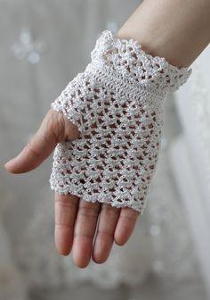White Lace Wedding Gloves, Fingerless, Crocheted, Bridal, Bridesmaid gift. $24.00, via Etsy.