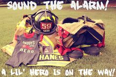 New baby announcement! Firefighter Pregnancy Announcement, Firefighter Family, Birth Announcement Girl, Pregnancy Announcements, Firefighter Paramedic, Firefighter Wedding, Firefighter Decor, Erwarten Baby, First Baby