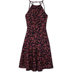 Black Floral Print Skater Dress ($50) ❤ liked on Polyvore featuring dresses, vestido, black, pattern dress, skater dress, floral pattern dress, strappy dress and reversible dress