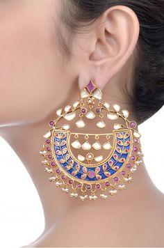 Silver Enamelled Garnet Earrings