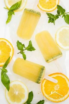 Basil Mint Citrus Mojito Popsicles: Perfect combination of summer flavors! Leave out the alcohol for a kid-friendly version!
