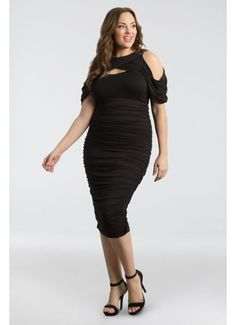 54f07ec14cb2c Short Sheath Off the Shoulder Guest of Wedding Dress - Kiyonna Plus Size  Wedding Guest Dresses