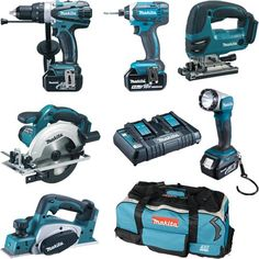 *CLICK TO ENLARGE* Makita DLX6067PT 6-piece 18V tool kit with three 5.0Ah batteries Best Woodworking Tools, Router Woodworking, Cordless Tools, Cordless Drill, Power Tool Kits, Makita Power Tools, Hex Wrench, Drill Set, Impact Driver