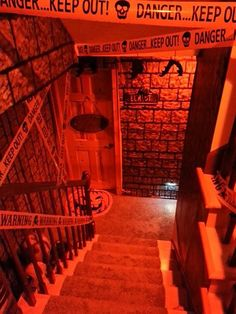 Stairway down to the basement...enter if you dare!!  Muahahahahaha!  (Sorry...caught up in the moment!)