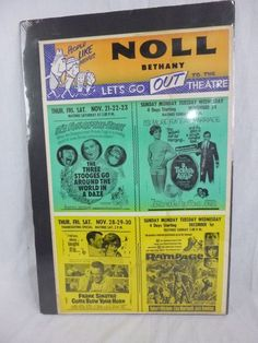 Vtg 1964 Movie Poster Noll Theatre Bethany Mo. 3 Stooges Frank Sinatra