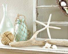 35 Captivating Mantle Beach Themes Décor Ideas For Summer - Home Design , Seaside Decor, Beach Cottage Decor, Coastal Decor, Seaside Theme, Cozy Cottage, Nautical Theme, Beach Mantle, Summer Mantel, Summer Decoration