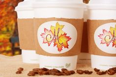 Autumn Wedding coffee cup sets - Comes with organic cups, lids, sleeves, and personalized labels! From LabelsRus
