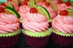 LIME CAKE SOAKED with LIME SYRUP TOPPED with CHERRY BUTTERCREAM GARNISHED with a LIME WEDGE & CHERRY!