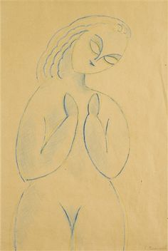 Constantin Brancusi, NU DEBOUT, Blue and yellow wax crayon on paper Creation Date: 1911 - 1912