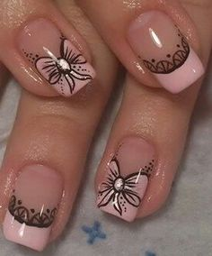 Bello diseño French Nail Art, French Nail Designs, Ombre Nail Designs, French Tip Nails, Pink Nail Art, Cute Acrylic Nails, Pink Nails, Nail Manicure, Gel Nails