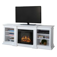 """Real Flame Fresno 72"""" TV Stand with Electric Fireplace"""