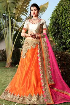 Orange Colour Net Fabric Party Wear A Line Lehenga Choli Comes With Matching Art Silk Blouse and Net Fabric Dupatta. This Lehenga Choli Is Crafted With Embroidery Work. It Is An Party Wear Lehenga Cho...