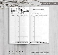 Printable Travelers Notebook Monthly Planner PDF file. DOWNLOAD INCLUDES: 1) 8.5 x 11 (Letter) PDF file 2) A4 PDF file Monthly planner