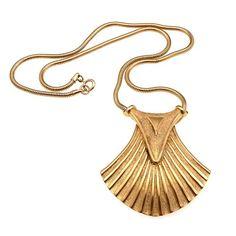 Trifari Egyptian Revival Lotus Pendant, Ca. 1970 #vintagejewelry #fashion #estatejewelsbygr #trifari