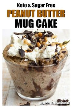 This easy Keto peanut butter mug cake is super moist and fluffy! Want a sugar free dessert NOW? It takes less than 5 minutes from start to finish to make this cake recipe in the microwave. Gluten free, low carb plus a dairy-free option! Low Carb Sweets, Low Carb Desserts, Low Carb Recipes, Diet Recipes, Dairy Free Keto Recipes, Peanut Butter Mug Cakes, Sugar Free Peanut Butter, Sugar Free Ice Cream, Cake Mug