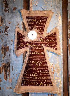 MY FAVORITE!!!   Medium burlap cross on Etsy, $35.00