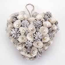 Sparkly White Christmas Rose Heart Wreath