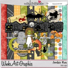 Zombie Run - digital scrapbooking kit from Winks Art Graphics. This kit is perfect for the zombie lover. This kit is a good addition to your Halloween stash. These fun papers and elements will add that special touch to your layouts.