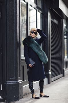Green faux Fur Scarf Winter Style Navy Coat Leather Leggings Lace Up Flats Mini Quilted Chanel Bag Via Vanessa Hong The Haute Pursuit Looks Street Style, Looks Style, Look 2017, Chic Winter Outfits, Winter Stil, Winter Coat, Navy Coat, Mode Blog, Olsen Twins