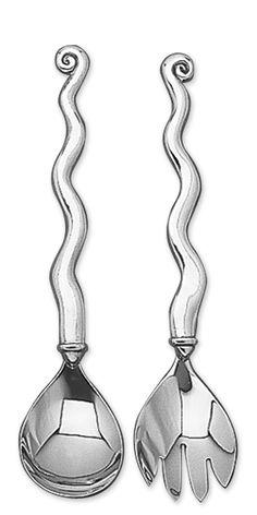 SALAD SERVERS - WAVE Carroll Boyes, Art Deco Lamps, Africa Art, Glass Tray, Kitchen Art, Medium Art, Metal Art, Art Boards, South Africa