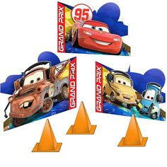 Turn your table into a party zone! The Disney/Pixar Cars Dream Party Table Decorations have Grand Prix cars in different styles and colors, and traffic cones in yellow. Each Decoration is 13 x 5 x 5 I