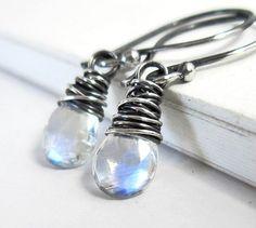 Moonstone Earrings, Sterling Silver June Birthstone Drop Dangle Earrings, Handmade Faceted Gemstone Genuine Rainbow Moonstone Jewelry