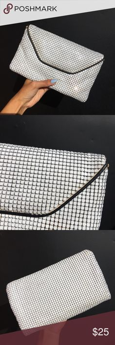 vintage white metal and black leather trim clutch missing straps 505ce6da3c2df