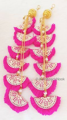 Fuchsia Pink Fan Tassels With Gold Filigree Embellishments With Diamante And Pearl Beads, Tassel Charms, Wool Tassels, 1 pc - Fancy Blouse Designs, Dress Neck Designs, Saree Tassels Designs, Rakhi Design, Diy Tassel, Gold Filigree, Fabric Jewelry, Pearl Beads, 1 Piece