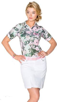 Ladies #golf outfit in #pink and fern #green at #golf4her.com