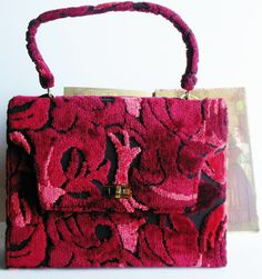 Mod Burgundy Chenille Kelly Bag by normajeanscloset on Etsy, $69.99