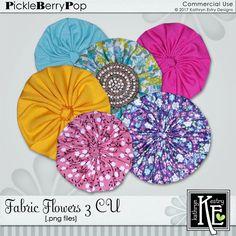 Fabric Flowers 3 CU Digital Scrapbooking Supplies by Kathryn Estry @ PickleberryPop   $5.49