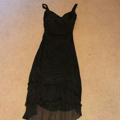 Dress Beautiful black form fitting dress 100% polyester. I noticed a couple of small snags but couldnt get a good picture of them wouldnt be very noticeable because rouging. Length about mid calf Studio Y Dresses Midi