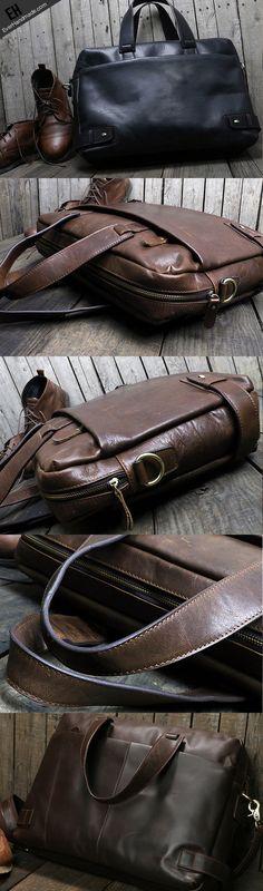 Handmade leather men Briefcase messenger large vintage shoulder laptop bag vintage bag